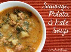 Sausage potato and kale soup. Our newest favorite soup recipe!