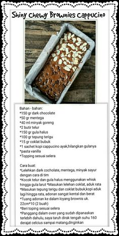 Brownie Recipes, Chocolate Recipes, Cake Recipes, Dessert Recipes, Chewy Brownies, Brownies Kukus, Indonesian Desserts, Resep Cake, Simply Recipes