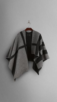 Dark grey check Check Wool and Cashmere Blanket Poncho - Image 3