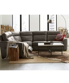 Destin Leather 5 Piece Sectional Sofa With 3 Recliners Furniture Macy S