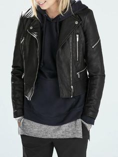 Black Leather Look Jacket With Zipper Detail - Fashion Clothing, Latest Street Fashion At Abaday.com