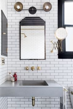 Best small bathroom ideas in a Bay Area bath. How to design a beautiful small bath with just three colors from San Francisco designer Katie Martinez. Small Bathroom Sinks, White Bathroom, Bathroom Ideas, Washroom, Compact Bathroom, Bathroom Designs, Bathroom Tapware, Bathroom Goals, Mirror Bathroom