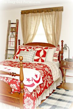 "The Cozy Old ""Farmhouse"": DIY projects.   I love the bedding."