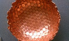 Copper bowl made of pennies. Determined to figure out how to make this.