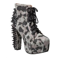 JEFFREY CAMPBELL Spike boot (€84) ❤ liked on Polyvore featuring shoes, boots, ankle booties, heels, jeffrey campbell, high heels, suede lace up booties, black booties, cheetah print booties and suede booties