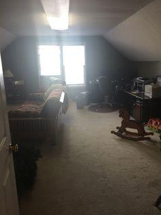 BEFORE-BONUS ROOM, had flourescent lighting, dark walls, tons of furniture