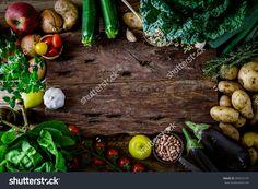 Healthy Food Wood Background