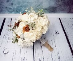 BIG cream brown rustic wedding BOUQUET Ivory sola Flowers, cedar roses, Burlap Handle, dried sorghum, faux eucalyptus lace pearl pins custom - pinned by pin4etsy.com