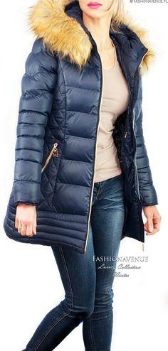 Kurtka Damska Zimowa Jenot Zamki Przeszycia Pikowania Kaptur Taliowana SnowFlake #106 @fashionavenuePL