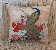 """Peacock Pillow 10"""" x 10"""" Vibrant colors gorgeous fabric on the back of pillow $16"""