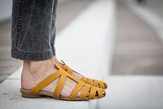 10% Sale, Alicia, Yellow Leather Sandals, Flat Summer Shoes, Pointy Shoes on Etsy, 677.12₪