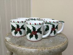 Vintage Christmas Lefton Holly Candy Cane Mugs/Hand Decorated/Japan circa 1950s/Model Number 210/Set of Six with Original Box by AmityVintageAndCraft on ... & Lefton Holly and Candy Cane Sugar and Creamer Christmas Dinnerware ...