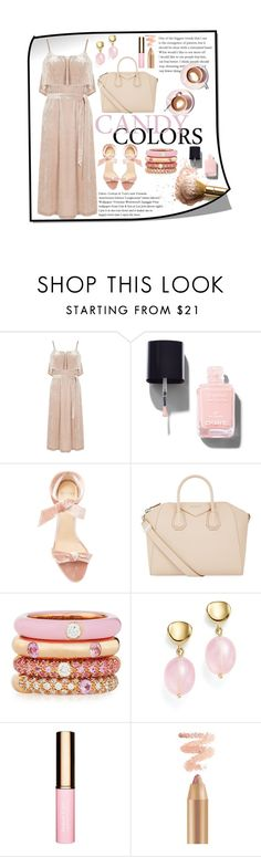 """• Baby Pink Velvet Dress •"" by fashion-fields-forever ❤ liked on Polyvore featuring Warehouse, Chanel, Alexandre Birman, Martha Stewart, Givenchy, Adolfo Courrier and Bloomingdale's"