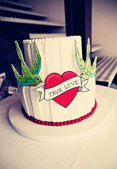 hand painted tattoo bird true love wedding cake
