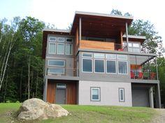 Custom modern mountain home near Brant Lake, NY. By Eric & Eric. 518-494-3611
