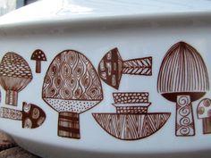 Retro Mushroom Motif Lidded Casserole Dish ~style of Kaj Franck~ Vintage Baking Dish~ Eclectic Kitchen ~ Georges Briard ~ Ceramic/Stoneware by MarthasVintageBazaar on Etsy
