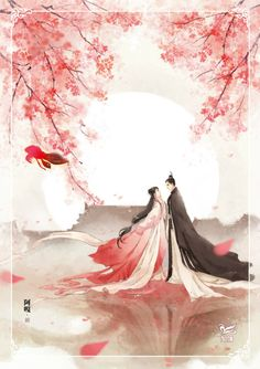 Do you love to read romantic stories? Try these light and funny ones on Flying Lines. Fantasy Kunst, Anime Fantasy, Fantasy Art, Chinese Drawings, Art Drawings, Cherry Blossom Art, Art Asiatique, China Art, Couple Art
