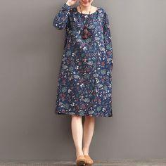 Autumn Print Long Sleeved Dress