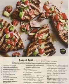 Seared Tuna with Avocado Salsa - Fresh Tuna Recipes - Cooking Light Fish Dishes, Seafood Dishes, Seafood Recipes, Cooking Recipes, Shellfish Recipes, Dinner Recipes, Cooking Tips, Fresh Tuna Recipes, Healthy Recipes