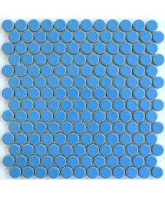 ModDotz Blue Jay  Bright Blue Porcelain Tile Penny Rounds