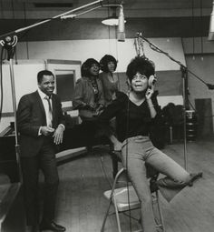 Berry Gordy with Diana Ross and the Supremes in Studio A.