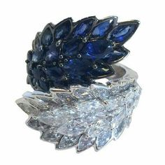 A Stunning Sapphire Diamond White Gold Leaf Ring