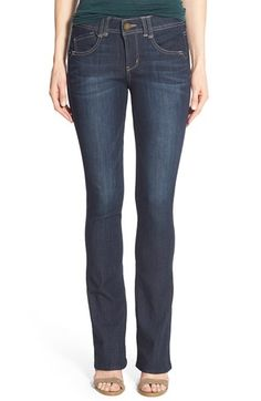 Free shipping and returns on Wit & Wisdom Ab-solution Itty Bitty Bootcut Jeans (Regular & Petite) at Nordstrom.com. Enhanced with a deep-indigo wash, stretch-denim jeans get a lean and leggy look from a slim cut with a narrow boot-leg opening. The 'Ab-solution' flatters with power-mesh panels to mold and hold, including a waistband with interior control and booty-lift construction.