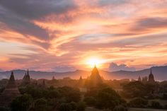 Bagan Sunset - Sunset behind Mingalazedi Pagoda, one of the many temples in Bagan, Myanmar.