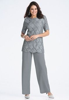This outfit is nice. A colorful top or bright top and light navy jacket will do wonders with the pants, Excellency. A flowing cream ivory skirt with the top welcomes summer! Carry a light color clutch, perfect. Mother Of The Bride Suits, Mother Of Bride Outfits, Mother Of Groom Dresses, Mothers Dresses, Bride Dresses, Wedding Trouser Suits, Wedding Pantsuit, Pant Suits, Lace Jacket