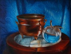 """""""Copper Pot with Glass Apple"""", 11x14in, oil on canvas, by Svetlana Kanyo. Original painting is available for sale on ebay or ArtPrice.com: just simply type : Svetlana Kanyo or www.saatchiart.com/kanyoart Please share this pin and help Masters Art Academy build an art school with windows!"""