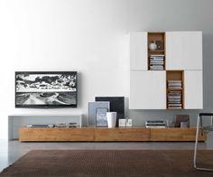 Hübsches Holz...  FGF Mobili Wohnwand C18B B 300 cm / H 180 cm / T 37 cm