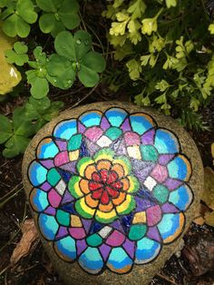 Extra large rainbow mandala garden stone..I'm into mandala rocks and all the color possibilities for my garden. This beautiful painted rock gives me inspiration!!