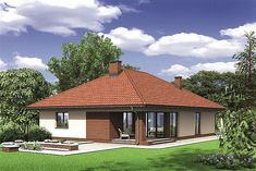 Проект+на+едноетажна+къща+с+тухли,+4+спални+и+гараж Sims House Design, Home Decor Styles, Home Projects, Gazebo, Brick, Outdoor Structures, Cabin, House Styles, Houses