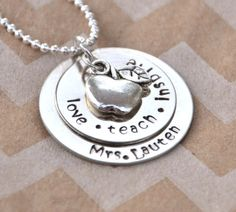Teacher's Gift Hand Stamped Teacher's Name, Love - Teach - Inspire Necklace and Apple Charm on Etsy, $21.95