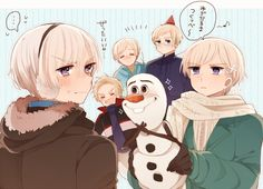 Hetalia - Iceland, Norway, Sweden, Finland, and Denmark with Olaf : Crossover with Frozen