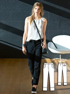 Cigarette Pants 04/2016 Ankle length, long and narrow. These cigarette pants feature flap pockets and should be a staple in every woman's closet.
