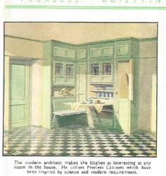 """A look through a 1936 catalogue issued by Peerless Kitchen Cabinets Ltd of Greenford Middlesex in """"the largest and foremost manufacturers of Built-in Kitchen Furniture. How To Clean Furniture, Classic Furniture, Cheap Furniture, Discount Furniture, Kitchen Furniture, Living Room Furniture, Furniture Design, Furniture Cleaning, Furniture Ideas"""