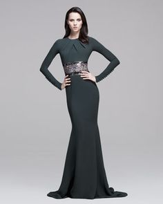 Pamella Roland Long-Sleeve Embroidered Mermaid Gown - Bergdorf Goodman