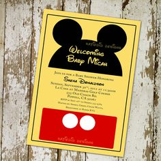 Mickey Mouse Disney baby shower invitations or baby shower invitations, digital, printable file (item 777b). $13.00, via Etsy.
