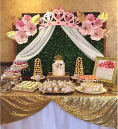 Crib or Bed Crown Party Party Nursery or Princess Party Backdrop with Sheers Princess Party Decorations, Quinceanera Decorations, Quinceanera Party, Birthday Party Decorations, Baby Shower Decorations, Birthday Parties, Disney Princess Party, Princess Theme, Baby Shower Princess