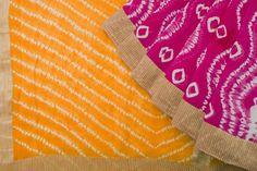 Yellow - with one of its best companions Indian hot pink Kalpa Druma Handwoven Shibori Silk Cotton Sari 1022880 - Brands / Kalpa Druma - Parisera