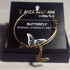 Authentic Alex & Ani Gold Butterfly Charm BraceletBoutique