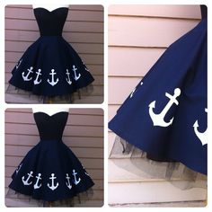 Sexy Ink Blue ANCHOR Skirt Nautical Pin Up by MoonbootStudios