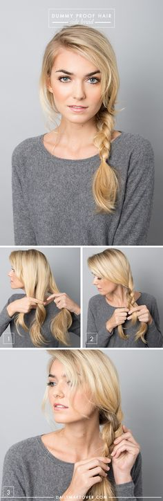5 Dummy Proof Hairstyles That Everyone Can Master easy side braid tutorial Lazy Day Hairstyles, Pretty Hairstyles, Braided Hairstyles, Hairstyle Ideas, Business Hairstyles, Beach Hairstyles, Quick Easy Hairstyles, Wedding Hairstyles, Fashion Hairstyles