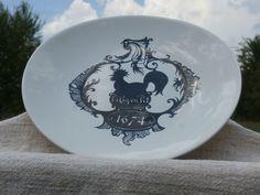 Salins France Coq en Pot Oval Plate, White, Black,  French Kitchen Decor Chicken
