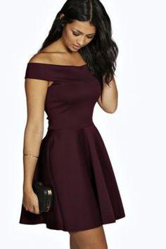 Tamsin Off The Shoulder Skater Dress at boohoo.com