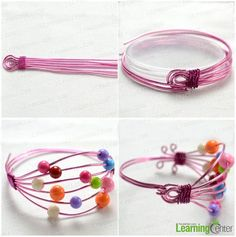 Wire Jewelry Making Ideas-How to Make Wire Bracelet with Beads Summary: By using some aluminum wire and acrylic beads, you may create this wire beaded bracelet. What's more, you will find this bead wire jewelry design fabulous and attractive after you see the finished picture..