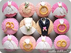 Cupcake for Wedding...they are so cute!  from: Mutlu Dukkan