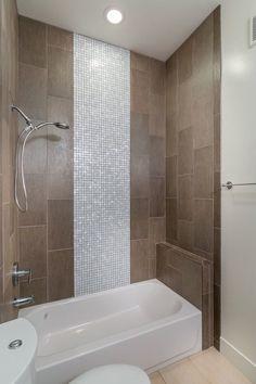 Contemporary Full Bathroom with Handheld showerhead, Full Bath, shower bath combo, stone tile floors, tiled wall showerbath