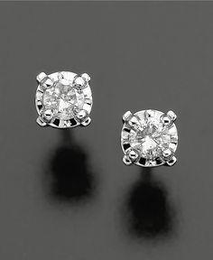 Diamond Earrings, 14k White Gold Diamond Studs (1/8 ct. t.w.) - Earrings - Jewelry & Watches - Macy's